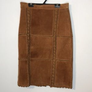 Vintage leather patchwork knit high rise skirt